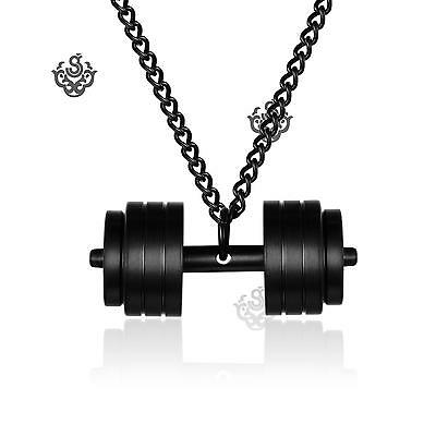 Black 3D dumbbell stainless steel pendant curb chain lobster clasp necklace