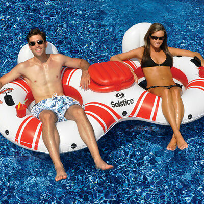 "Solstice 97""L Swimming Pool Lake Super Chill Duo Tube 2 Person Float w/ Cooler"