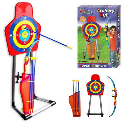 New Kids Archery Bow and Arrow Toy Set with Standing Target Outdoor Garden Fun