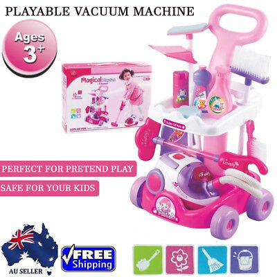 New Cute Fun Kids Pretend Play Cleaning Toy Set Tools Vacuum Broom Mop Playset