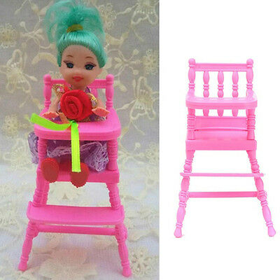 Mini Pink High Chair For Barbie Kelly Doll's House Furniture Decor Kids Gifts