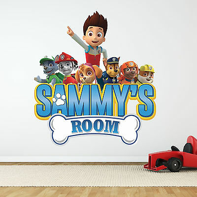 Personalised Boys Girls Paw Patrol Wall Sticker Chase Graphic Name Bedroom Kids