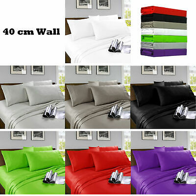 40cm Wall Soft Microfibre Fitted Sheet Set  SINGLE King Single DOUBLE QUEEN KING
