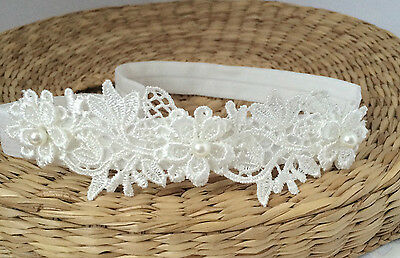 Lace headband, off white baby hair band, baptism christening tiara Handmade