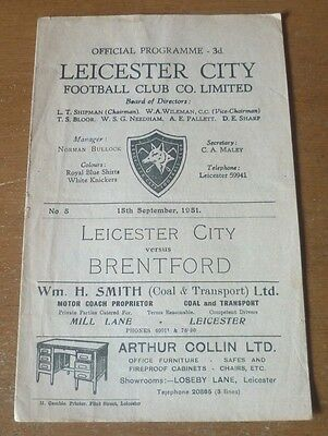 Leicester City v Brentford, 1951/52 - Division Two Match Programme.