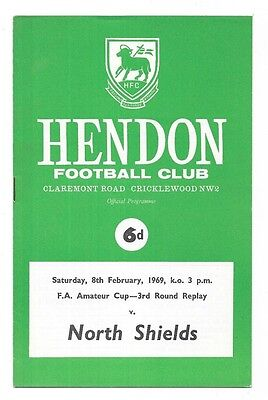 Hendon v North Shields (Winners), 1968-69 - FA Amateur Cup 3rd Rd Replay Prog.