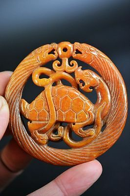 Delicate Chinese old jade carved dragon turtle&dragon lucky pendant  G23