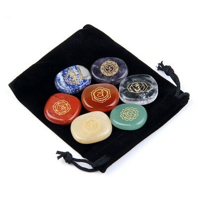 Energy Charged Gemstones 7 Chakra Set - Engraved / Gift Pouch / Reiki Healing