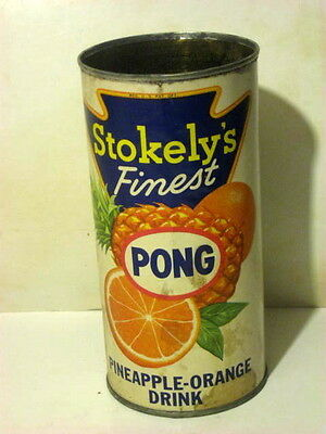 "Vintage STOKELY PONG Pineapple Orange Drink Grocery Can 1958.  7"" tall tin can"