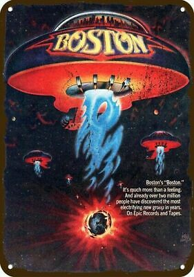 1977 BOSTON Album Release Vintage Look Replica Metal Sign - UFO SPACESHIP Art
