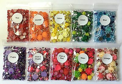 15g Floral Kits - Flatback Flower Cabs, Resin Acrylic Gems Pearls Decoden Crafts