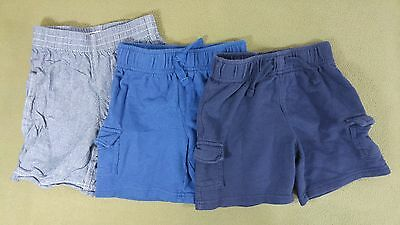 Jumping Beans & Healthtex 2T Boys Toddler Blue Cotton Shorts Lot of 3