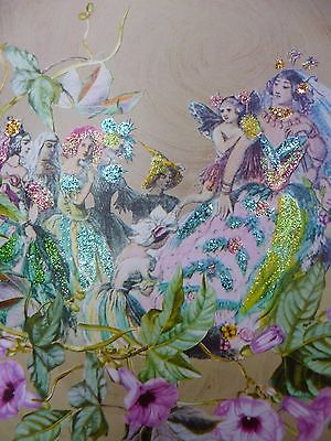 Fairy Procession Glitter Victorian Style Hand Made Greetings Card Blank Envelope