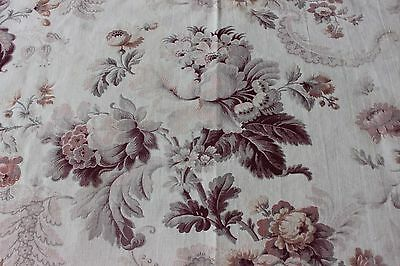 French Antique c1870 Roses & Scrolly Lace Fabric Faded Textile~Reserved