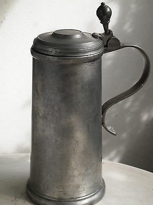 Rarity+++ antique german faience beer mug / beer stein / jug made of tin /pewter