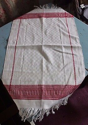 Lovely Antique 19thC Red Work Linen Hand Loomed Guest Towel~Signed