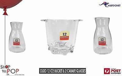 Ouzo 12 Cut Glass Ice Bucket & 2 Carafe Glasses 1970's Mint Con' Greek Man Cave