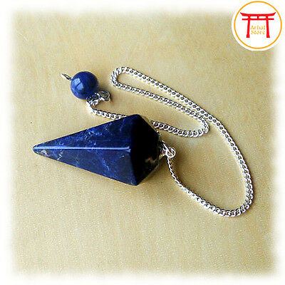 Natural Lapis Lazuli Crystal Gemstone Faceted Pendulum Point Dowsing Dowser