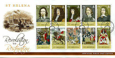 St Helena 2010 FDC Revolution to Restoration 10v Cover Cromwell Royalty Stamps