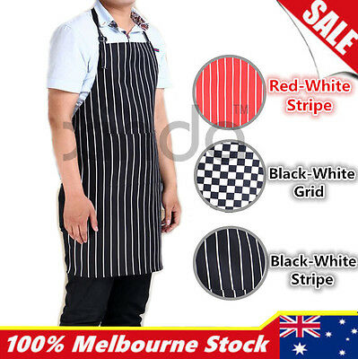 Apron Washable Pocket Waiter Chef Kitchen Cooking Striped Black White Red Bib