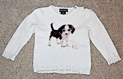 Ralph Lauren Toddler Girl's Ivory Puppy Dog Sweater Size 24 Months EUC