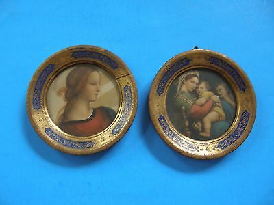 Set Of 2 Vintage  Wood Wall Plaques Hanging Decor Gold And Blue Floral Design