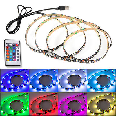LED TV BackLight RGB Lighting Multi-Color Strip Lamp USB Connector with Remote