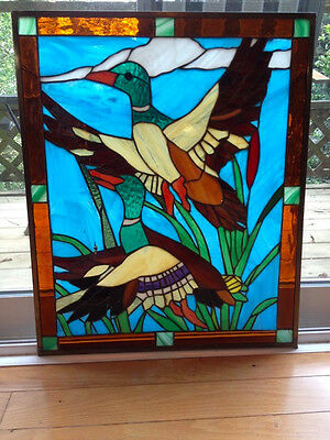 "Tiffany design stained glass window, 18 1/2 "" x 22"", metal edging, duck"