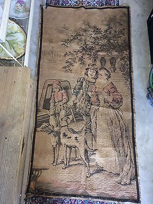"""Large Antique / vintage French Wall Hanging Tapestry 25""""x50"""" Family Scene Marked"""