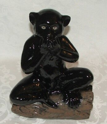 Collectible Decorative Black Ceramic Monkey Sitting on Log Statue Figurine