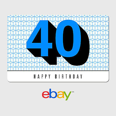 eBay Digital Gift Card - Happy 40th Birthday -  Fast email delivery