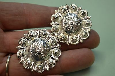 """Finest FLEMING STERLING Large Berry Bead Fancy Saddle CONCHOS 1 3/8"""" *HIGH DOME"""
