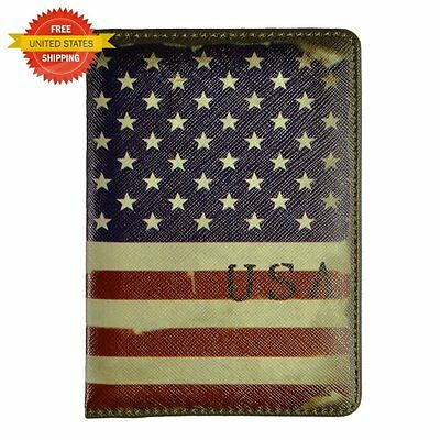 Vintage Leather Passport Cover Holder Case Wallet Travel Accessories USA Flag
