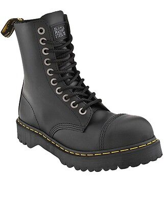 a8b3563ae94 DR. MARTENS 10 Eye Black Fine Haircell Steel Toe Boots W/ Black Sole Size 6  Mens