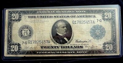 1914 $20 Twenty Dollar Large Bill Federal Reserve Note - Chicago, IL