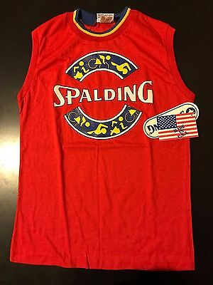 Vintage NWT 80s Spalding Sleeveless Muscle Shirt Youth Large Basketball Sports