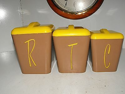 Vintage Gay Ware Brown Painted Canisters with Yellow Lids x 3