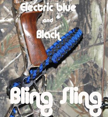 Archery Electric Blue & Black Bling Sling paracord bow wrist sling strap