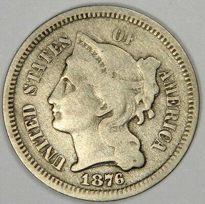 1876 Three Cent Nickel 3Cn - Nice Fine - Priced For Quick Sale!