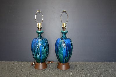 Pair of Mid Century Modern Eames Era Haeger Blue Green Drip Pottery Lamps