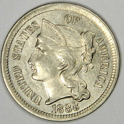 1888 Three Cent Nickel 3Cn - Bold Bu Ms Uncirculated - Priced Right!