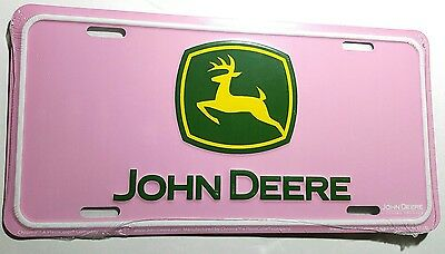 JOHN DEERE LICENSE PLATE -METAL STAMPED pink/green/yellow TAG (NEW)
