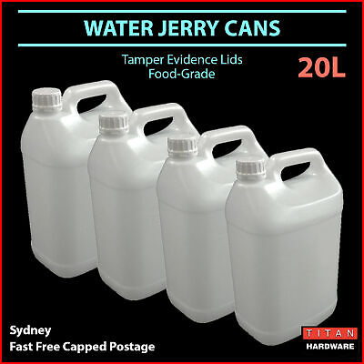 20L Water Jerry Can Plastic Food Grade Camping Petrol Fuel Liquid White Bulk
