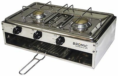 Steel 2 Burner Gas Cooker with Grill Caravan Camping Camping Hiking
