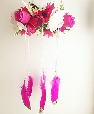 Flower Mobile, Nursery Decor, Boho Floral, Feathers, Baby Shower Gift