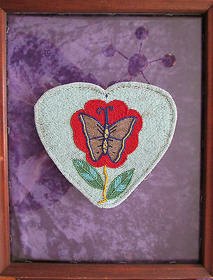 "BIG ANTIQUE NEZ PERCE/YAKIMA BEADED HEARTw. BUTTERFLY  large 7"" old piece"