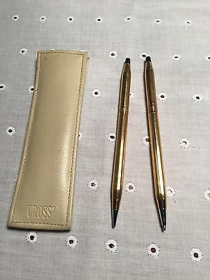 Cross Classic 1/20 10 karat gold filled ball point and pencil set Inscribed Case