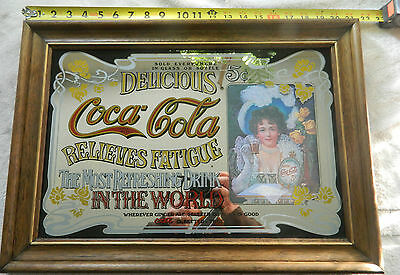 "Vintage Coca Cola Wood Framed Mirror Sign Advertising 5 Cents 21.5"" X 15.5"""