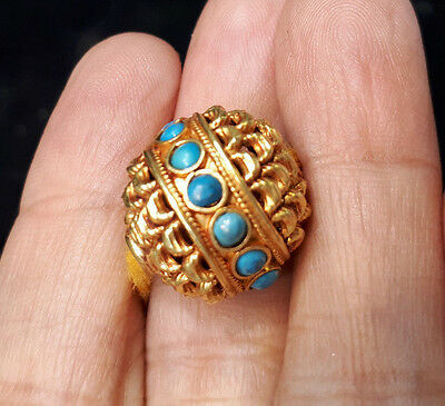 Astonishing Handcraft High Grade Turquoise Pedal Flower Solid 22K Gold Bead 16mm