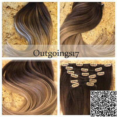 Ombre Balayage Clip in Human Hair Extensions Brazilan Human Hair 7pcs/100g